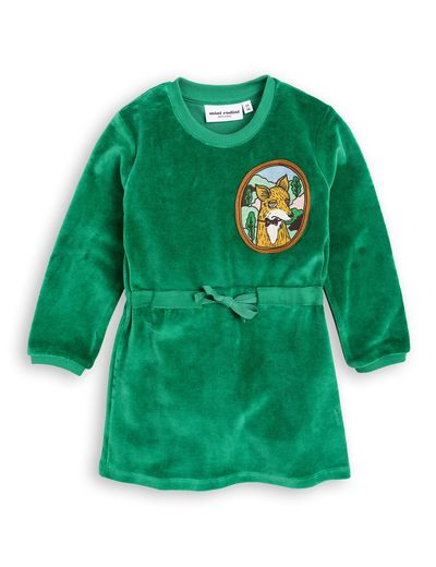 mini rodini - Fox velour dress, green